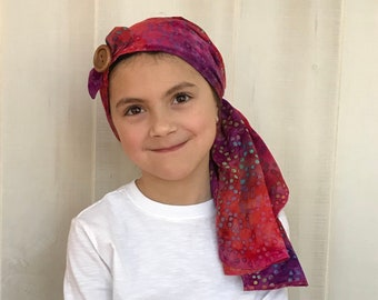 Child's Pre-Tied Head Scarf, Girl's Chemo Hat, Cancer Head Cover, Alopecia Headwear, Head Wrap, Cancer Gift, Hair Loss, Red Purple Tie Dye