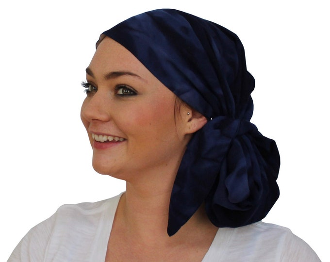 Featured listing image: Jessica Pre-Tied Head Scarf,  Women's Cancer Headwear, Chemo Scarf, Alopecia Hat, Head Wrap, Head Cover for Hair Loss - Navy Blue Tie Dye