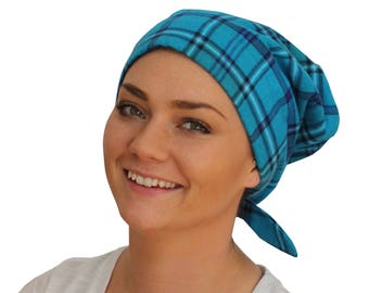 Women's Flannel Head Scarf, Cancer Headwear, Chemo Hat, Alopecia Head Cover, Head Wrap, Hair Loss Gift, Cancer Gift, Chemo Gift, Blue Plaid