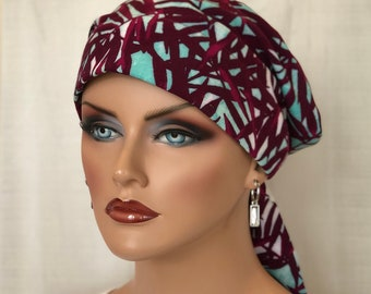 Head Scarf For Women, Gift For Mom, Chemo Headwear, Cranberry Ferns
