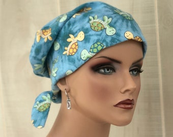 Flannel Hat For Women With Hair Loss, Chemo Headwear, Baby Turtles, Breast Cancer Gifts For Her
