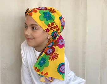 Child's Pre-Tied Head Scarf, Girl's Chemo Hat, Cancer Head Cover, Alopecia Headwear, Head Wrap, Cancer Gift, Hair Loss, Happy Yellow Flowers