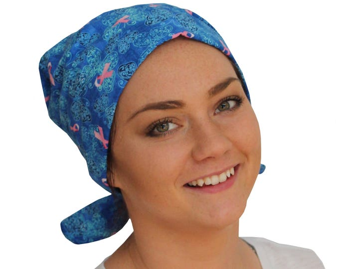 Featured listing image: Sandra Scarf, A Women's Surgical Scrub Cap, Cancer Headwear, Chemo Head Scarf, Alopecia Hat, Head Wrap, Head Cover, Hair Loss - Pink Ribbons