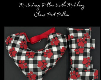 Paw Print Mastectomy Pillow, Seatbelt Pillow, Buffalo Plaid, Post Mastectomy, Breast Cancer Gifts