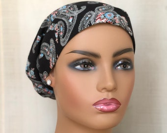 Head Scarf For Women With Hair Loss, Cancer Gifts, Chemo Headwear, Black Paisley