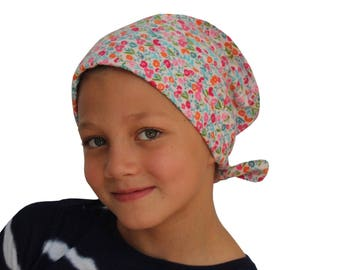 Jaye Children's Flannel Head Scarf, Girl's Cancer Hat, Chemo Head Cover, Alopecia Hat, Head Wrap, Cancer Gift, Hair Loss  - Spring Flowers