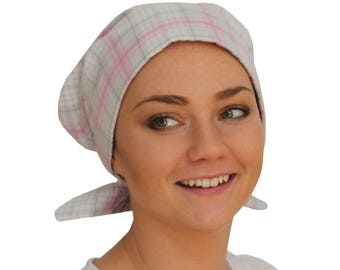 Women's Flannel Head Scarf, Cancer Headwear, Chemo Hat, Alopecia Head Cover, Head Wrap, Hair Loss Gift, Cancer Gift, Gray and Pink Plaid