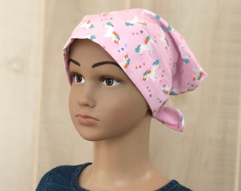 Children's Head Scarf, Girl's Chemo Hat, Cancer Headwear, Alopecia Head Cover, Head Wrap, Cancer Gift for Hair Loss Gift, Pink Unicorns