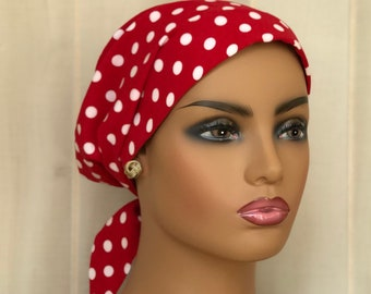 Cancer Head Scarf For Women With Hair Loss, Gift For Mom, Polka Dot Head Wrap
