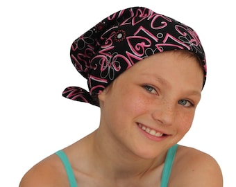 Mia Children's Head Cover, Girl's Cancer Headwear, Chemo Scarf, Alopecia Hat, Head Wrap, Cancer Gift for Hair Loss, Pink Love