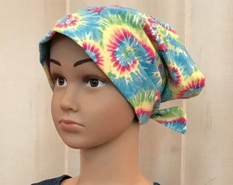 Children's Head Scarf, Girl's Chemo Hat, Cancer Headwear, Alopecia Head Cover, Head Wrap, Cancer Gift for Hair Loss, Turquoise Blue Tie Dye