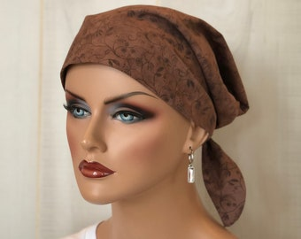 Scrub Caps For Women, Doctor Gift, Brown Floral Scrub Hats