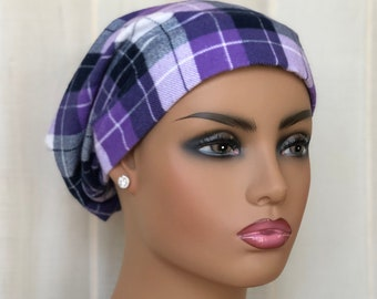 Flannel Hat For Women With Hair Loss, Chemo Headwear, Purple Plaid, Breast Cancer Gifts