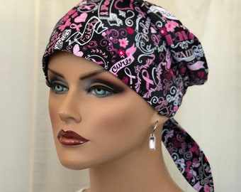 Scrub Caps For Women, Breast Cancer Awareness, Oncology Nurse Gift, Inspirational Chalkboard Words