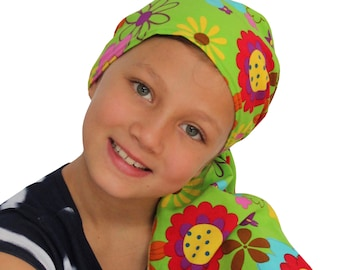 Ava Joy Children's Pre-Tied Head Scarf Girl's Cancer Headwear Chemo Head Cover Alopecia Hat Head Wrap Hair Loss - Green Happy Flowers