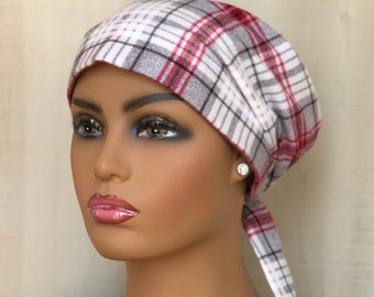 Womens Flannel Head Scarf For Hair Loss, Chemo Headwear, Gift For Mom, Gray Red Plaid