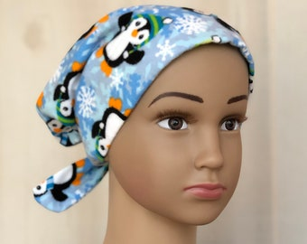 Children's Winter Flannel Hat For Girls With Hair Loss, Gift For Daughter, Chemo Hats, Penguins