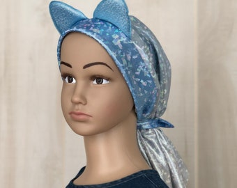 Cat Chemo Headwear For Children With Hairloss, Childhood Cancer, Gift For Daughter, Iridescent Blue and Silver