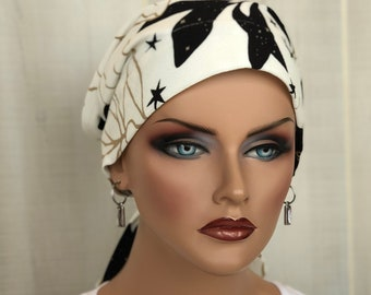 Head Wrap For Women With Hair Loss, Cancer Gifts, Black And White Head Scarf