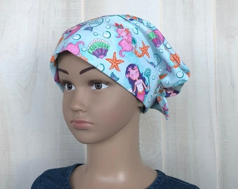 Children's Head Scarf, Girl's Chemo Hat, Cancer Headwear, Alopecia Head Cover, Head Wrap, Cancer Gift for Hair Loss, Turquoise Blue Mermaids