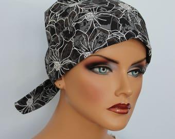 Sandra Scarf, A Women's Surgical Scrub Cap, Cancer Headwear, Chemo Head Scarf, Alopecia Hat, Head Wrap, Head Cover, Hair Loss - Gray Floral