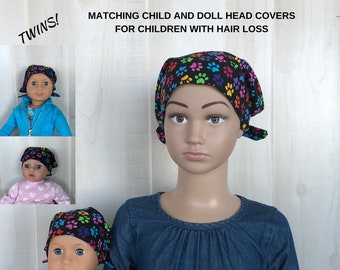 Matching Doll Hat And Child's Jill Head Cover For Children With Hair Loss. Childhood Cancer, Chemo, Alopecia, Head Wrap, Hair Wrap, Paws