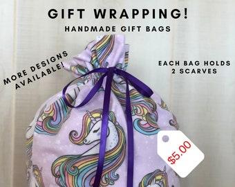 Unicorn Fabric Gift Bag, Reusable Gift Bags, Birthday Gift Wrap, Unicorns