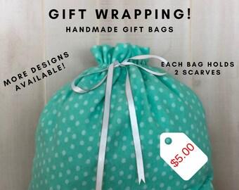 Reusable Gift Bags, Fabric Gift Bag, Birthday Gift Wrap, Green White Polka Dots