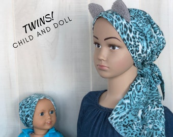 Matching Child's Head Scarf And Doll Hat For Girls With Hair Loss, Childhood Cancer, Chemo Hat, Cancer Gift, Alopecia,  Blue Leopard