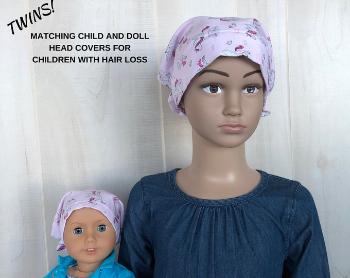 Featured listing image: Matching Doll Hat And Child's Jill Head Cover For Children With Hair Loss. Childhood Cancer, Chemo, Alopecia, Pink Sparkle Unicorn