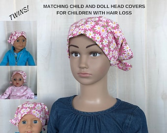 Shiri Children's Doll Head Scarf - A Matching Doll Hat To Our Jill Scarf, Hat, Head Cover, Cancer, Chemo, Alopecia, Hair Loss, Pink Daisies