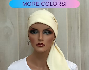 Pre-Tied Head Scarf For Women With Hair Loss. Cancer Headwear, Chemo Head Cover, Alopecia Hat, Head Wrap, Turban, Cancer Gift, Pale Yellow