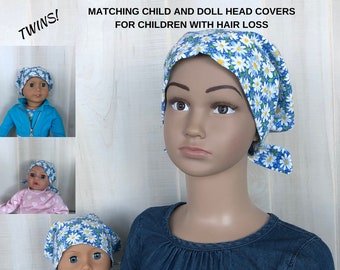 Shiri Children's Doll Head Scarf - A Matching Doll Hat To Our Jill Scarf, Hat, Head Cover, Cancer, Chemo, Alopecia, Hair Loss, Blue Daisies