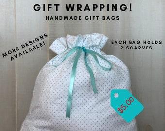 Reusable Gift Bags, Fabric Gift Bag, Get Well Gift Bags, White Green Polka Dots