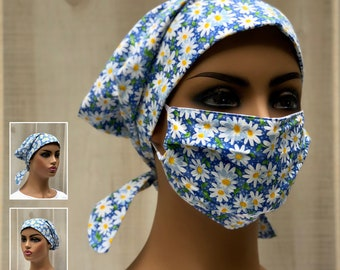 Surgical Cap Women, Face Mask, Nurse Gift, Head Scarf, Blue Daisies