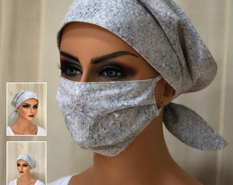 Surgical Cap Women, Face Mask, Nurse Gift, Head Scarf, Gray Flowers