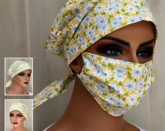Surgical Cap Women, Face Mask, Nurse Gift, Head Scarf, Yellow White Daisies