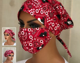 Surgical Cap Women, Face Mask, Nurse Gift, Head Scarf, Red Dog Bandana