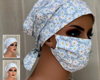 Surgical Cap Women, Face Mask, Nurse Gift, Head Scarf, Gray White Daisies