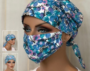 Surgical Cap Women, Face Mask, Nurse Gift, Head Scarf, Blue Floral