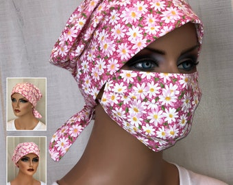 Surgical Cap Women, Face Mask, Nurse Gift, Scrub Hats, Pink Daisies