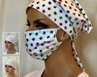 Surgical Cap Women, Face Mask, Nurse Gift, Head Scarf, Rainbow Paw Prints