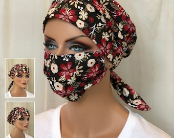 Surgical Cap Women, Face Mask, Nurse Gift, Scrub Hats, Black Red Floral