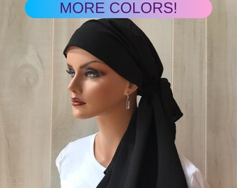 Pre-Tied Head Scarf For Women With Hair Loss. Cancer Headwear, Chemo Head Cover, Alopecia Hat, Head Wrap, Turban, Cancer Gift, Black
