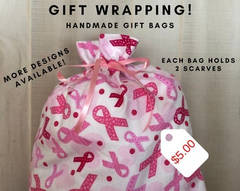 Reusable Gift Bags, Breast Cancer Gifts, Fabric Gift Bag, Pink Ribbons