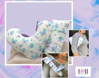 Mastectomy Pillow, Matching Seatbelt Pillow, Post Mastectomy,  Butterflies, Breast Cancer Gifts,