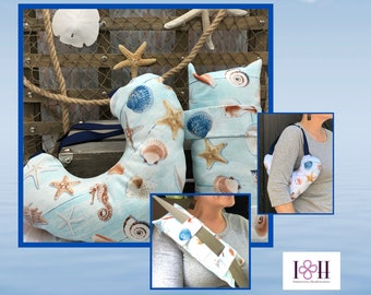 Mastectomy Pillows With Optional Matching Seatbelt Pillow, Breast Cancer Gifts, Nautical Pillows
