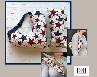 Mastectomy Pillow, Seatbelt Pillow, Patriotic Stars, Breast Cancer Gifts,