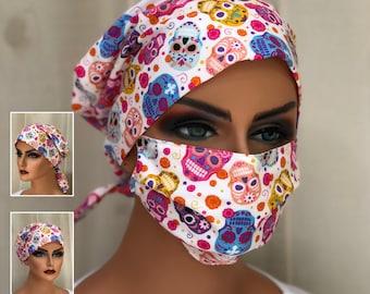Surgical Cap Women, Face Mask, Nurse Gift, Head Scarf, Pink Sugar Skulls