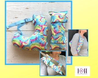 Mastectomy Pillow, Seatbelt Pillow, Sky Blue Tie Dye, Breast Cancer Gifts,